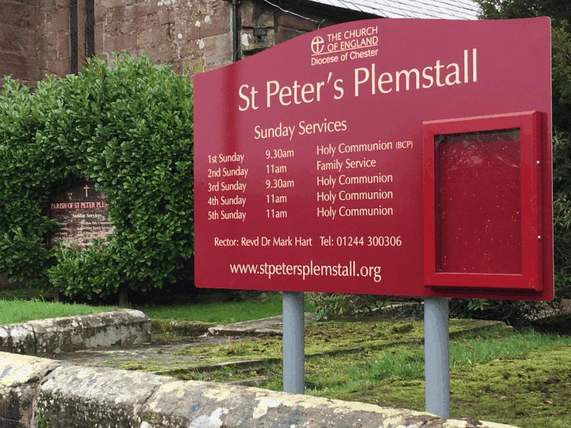 church notice board maroon aluminium classic