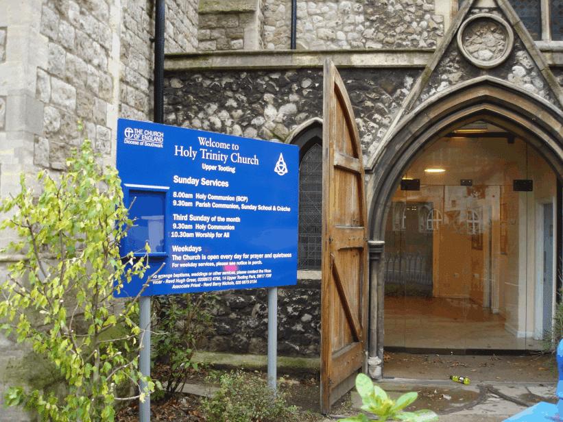 church notice boards blue aluminium classic