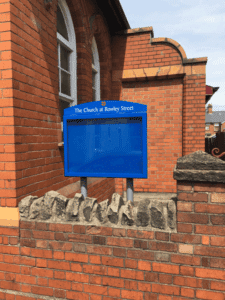 church notice board poster display case blue aluminium complementary
