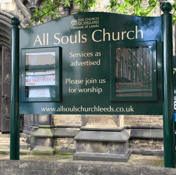 church notice board green aluminium