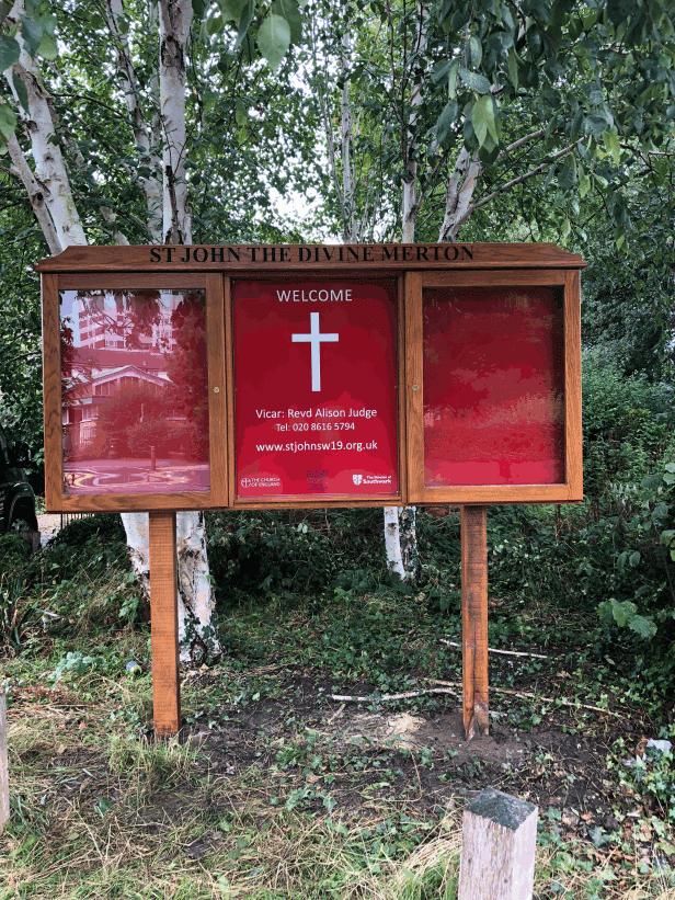church noticeboard oak